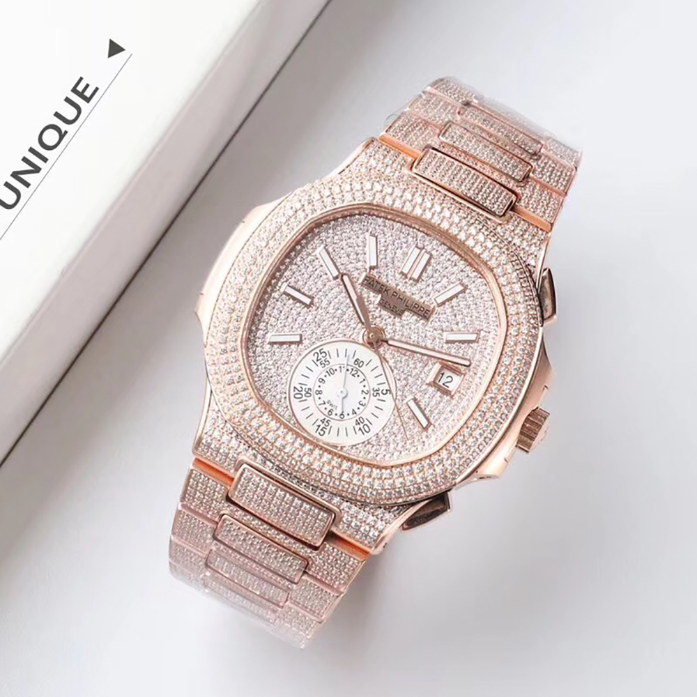 Patek Philippe Rose Gold Diamond Watch 7750 with Sub-dial(41MM) - FashionBeast