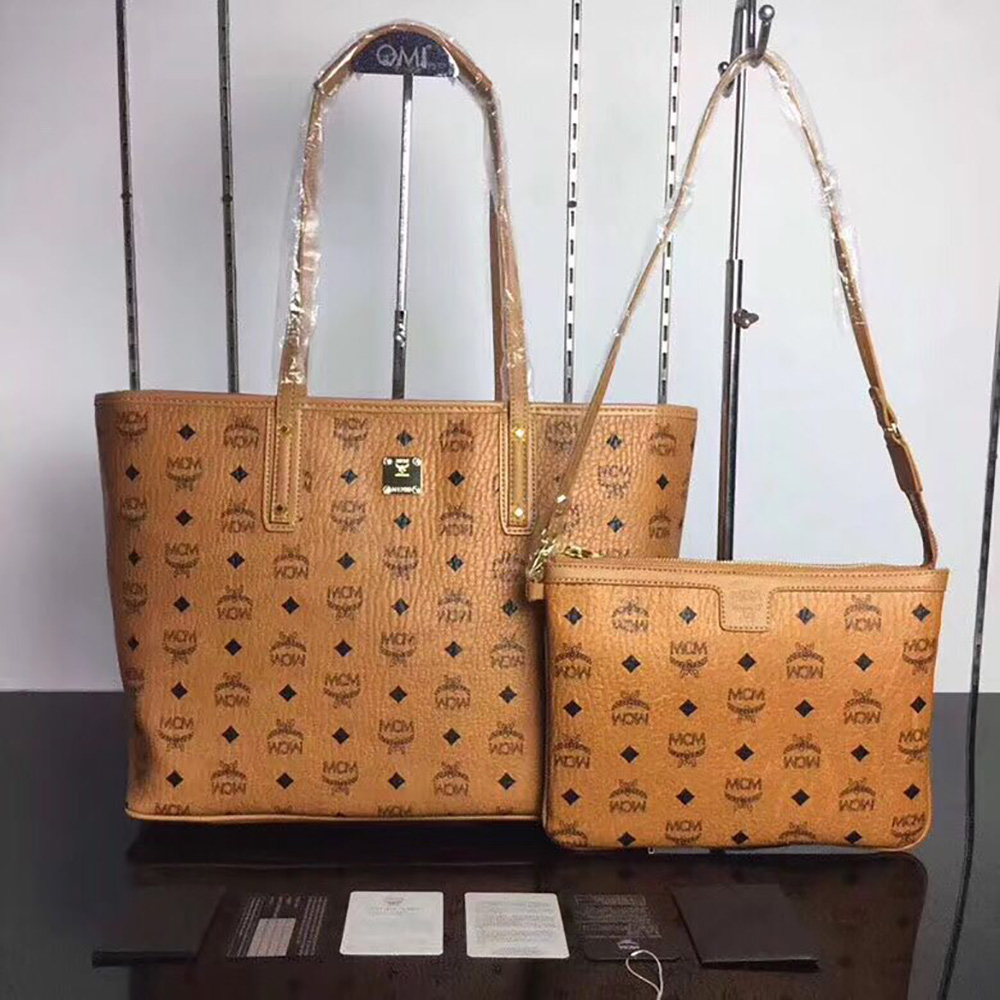 MCM Anya Top Zip Shopper in Cognac Visetos	 - FashionBeast