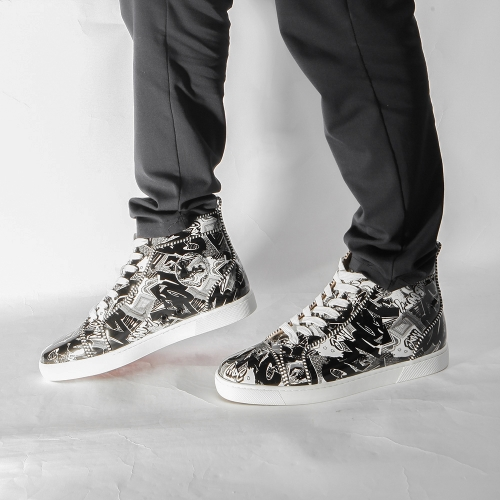 Super Perfect Christian Louboutin Flat Leather Sneakers(Black) - FashionBeast
