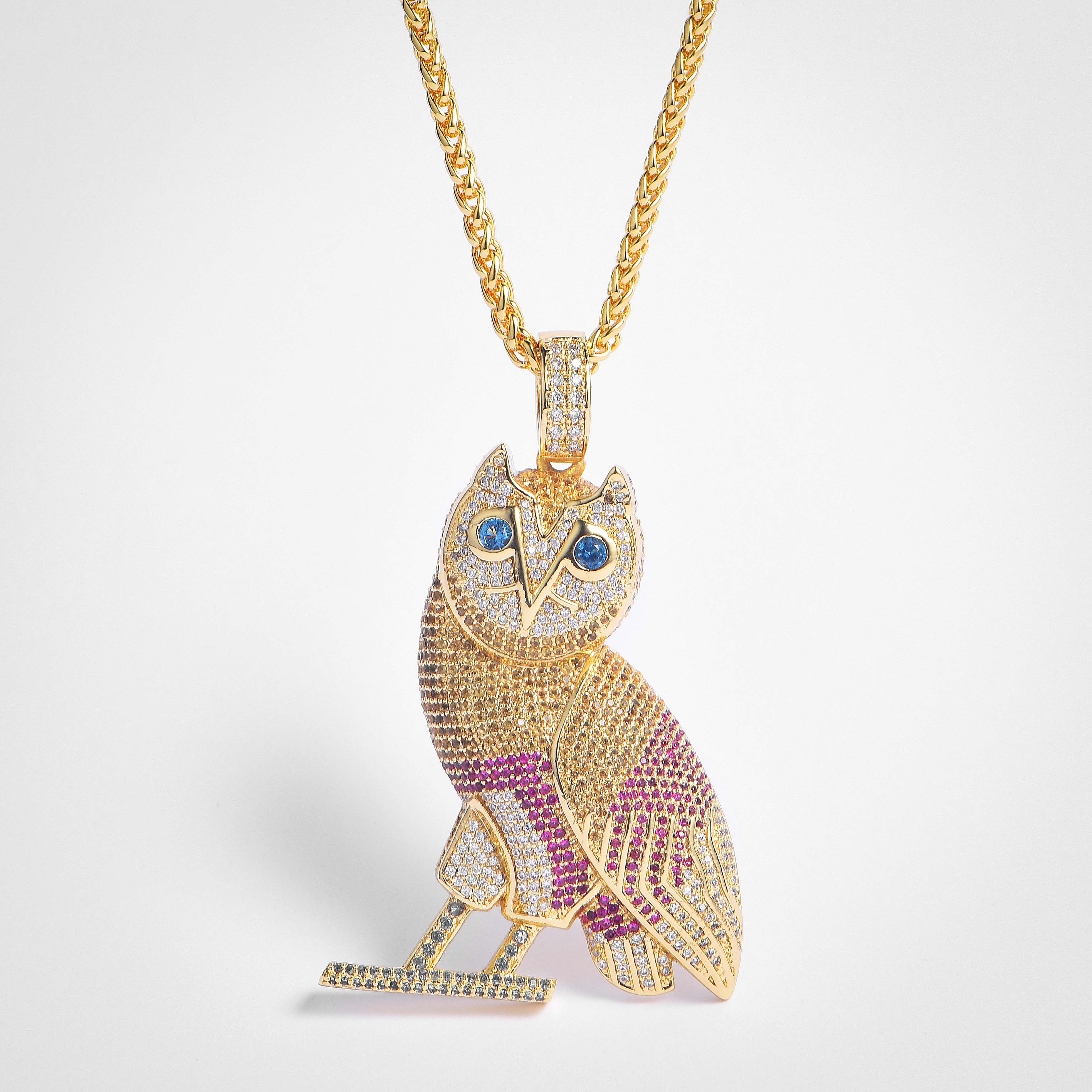 FREE SHIPPING Fully Iced Out Colorful Owl Pendant   - FashionBeast