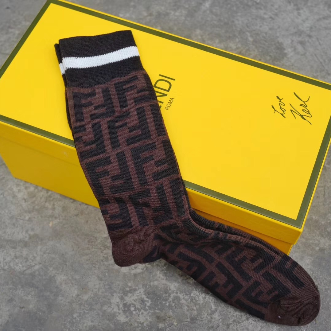 Fendi Brown Stretch Cotton Socks  - FashionBeast
