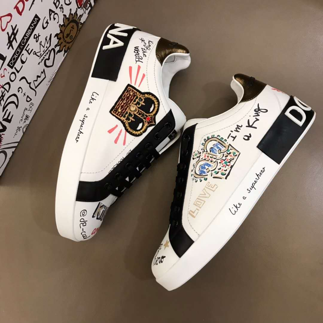 Dolce & Gabbana Portofino Sneakers in Printed Nappa Calfskin With Patch in White - FashionBeast