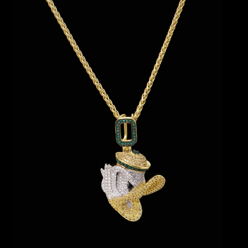 FREE SHIPPING 14k Gold Iced Out Little Duck Pendant - FashionBeast