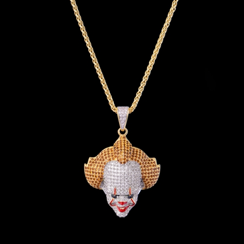 FREE SHIPPING 14K Gold Iced Out Clown Pendant - FashionBeast
