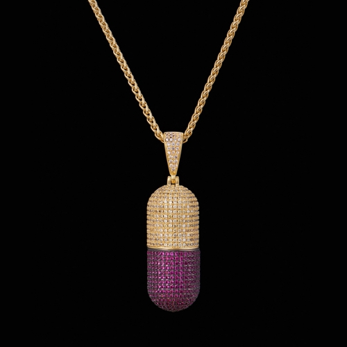 FREE SHIPPING 14K Gold Iced Out Detachable Pill Emoji Pendant - FashionBeast
