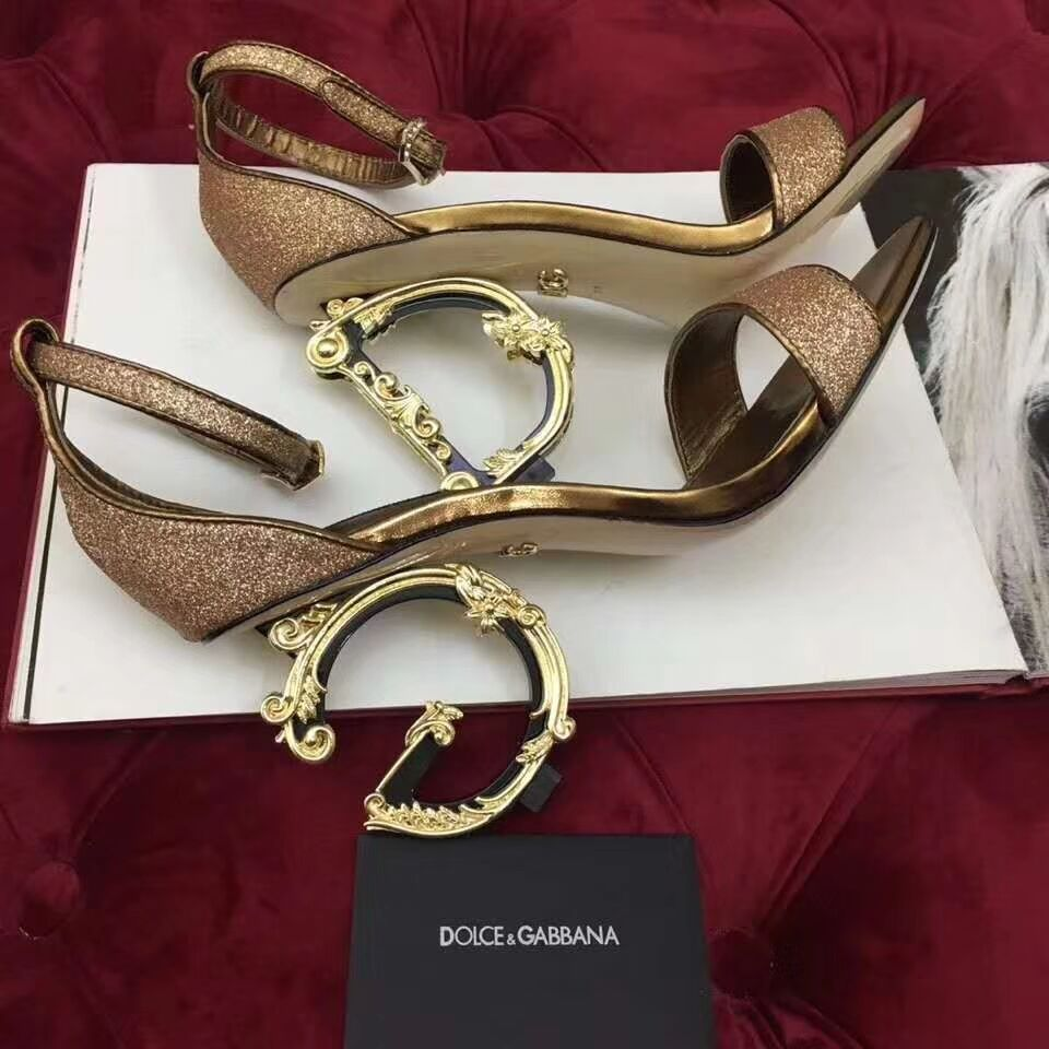 Dolce & Gabbana Lurex Sandal with Sculpted Heel in Gold - FashionBeast