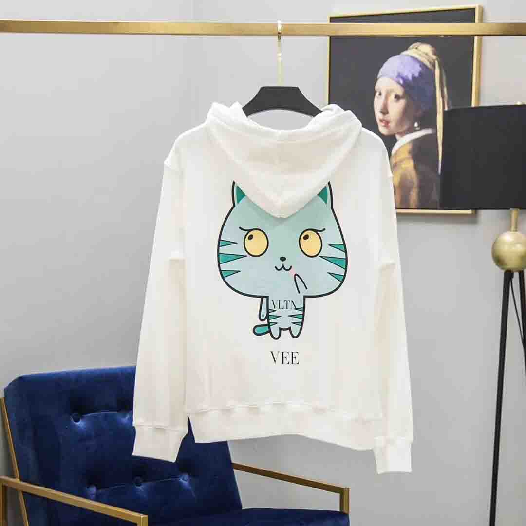 Cat Printed Cotton Sweatshirt in White - FashionBeast