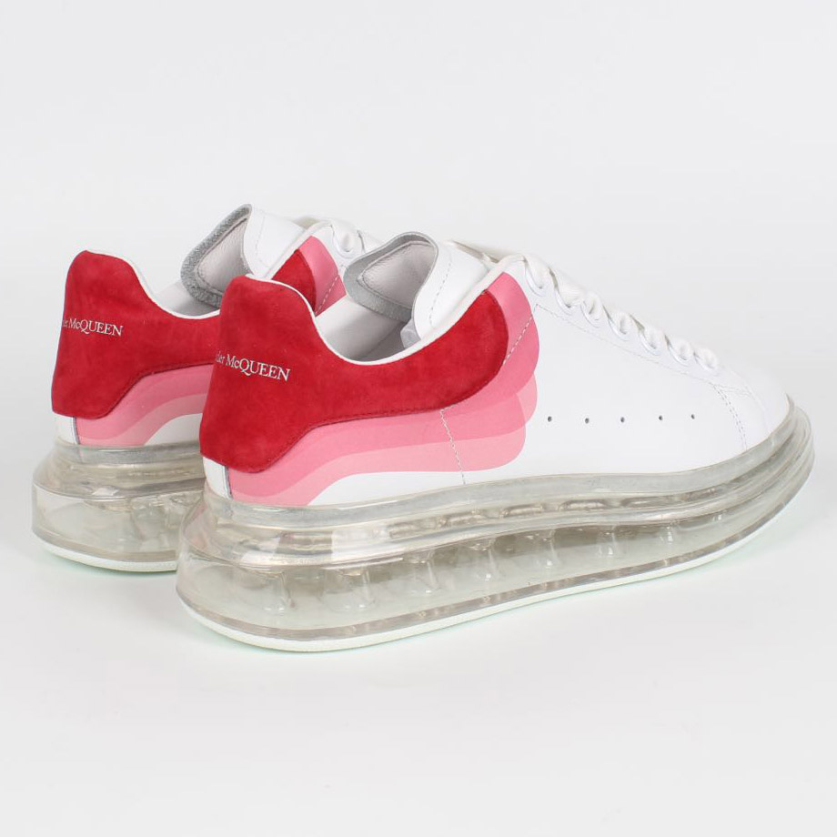 Alexander McQueen Air Cushion Sneaker in White with Red Heel - FashionBeast