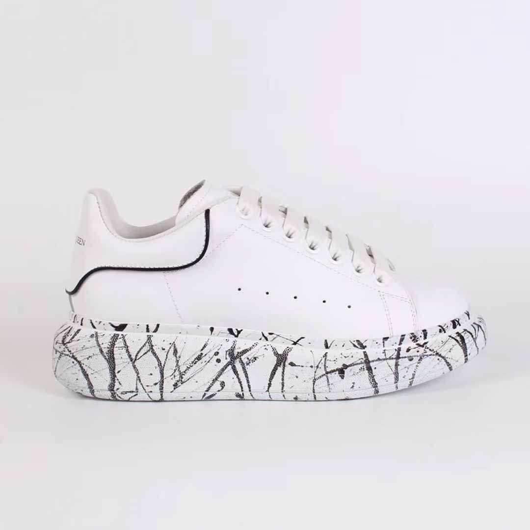 Alexander McQueen White Sneakers with Black Stone Pattern - FashionBeast