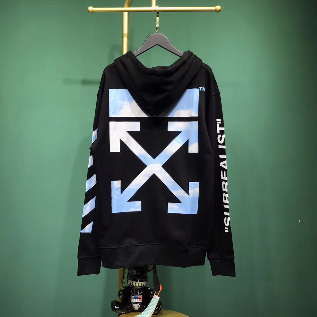 Off-White Blue Sky and Cloud Arrow Hoodie in Black - FashionBeast