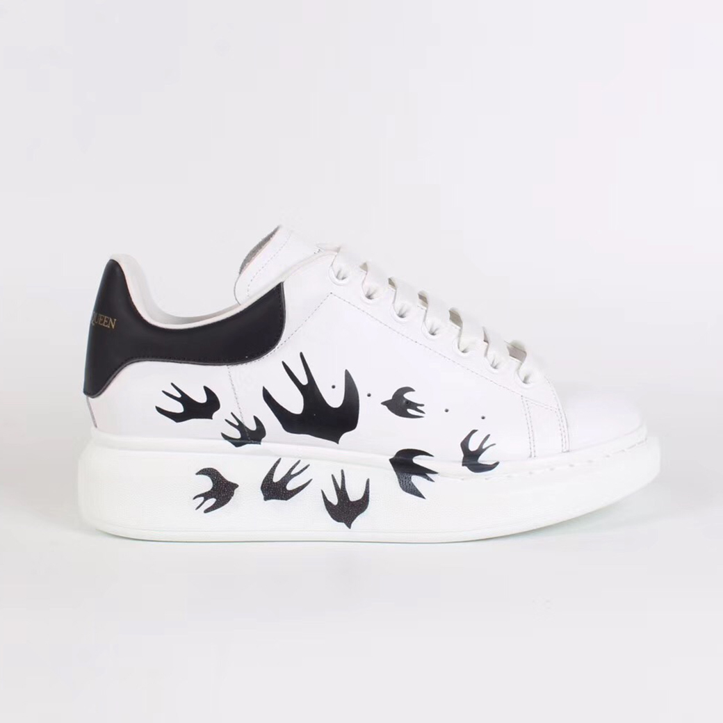 Alexander McQueen White Sneakers with Swallow Print - FashionBeast