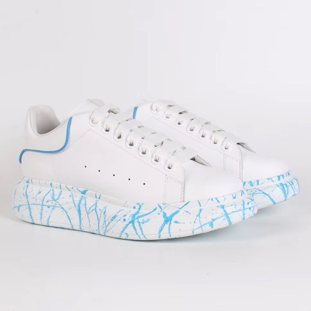 Alexander McQueen White Sneakers with Blue Stone Pattern - FashionBeast