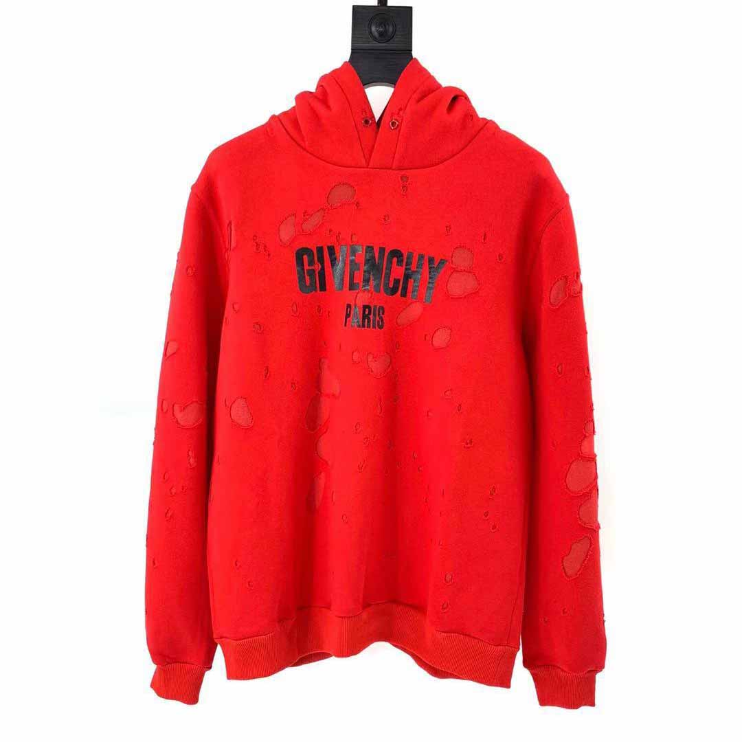 Givenchy Distressed Logo Hoodie in Red - FashionBeast