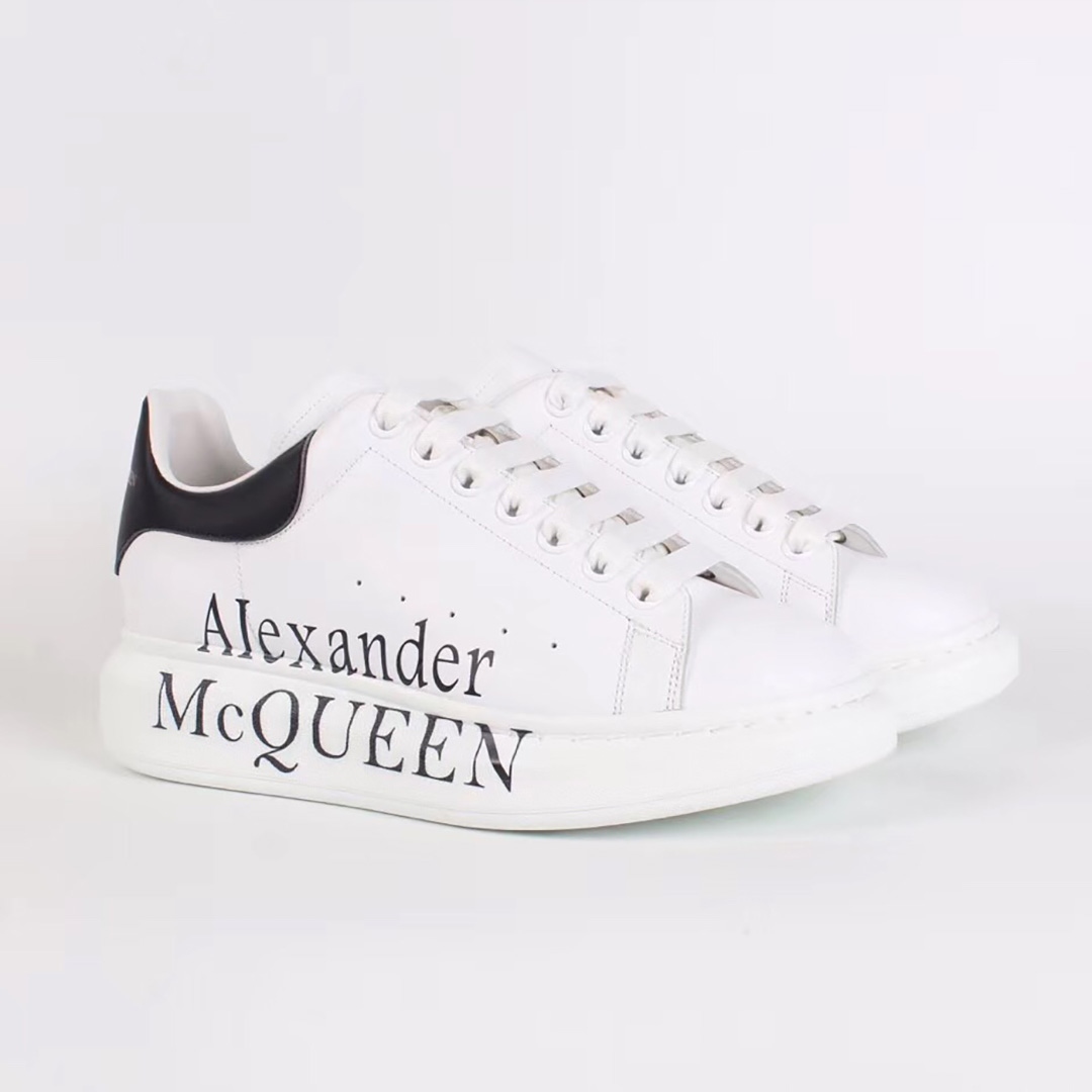 Alexander McQueen White Sneakers with Black Logo - FashionBeast