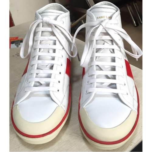 Limited Version Saint Laurent Signature Court Classic High Top In White Leather Men Sneaker - FashionBeast