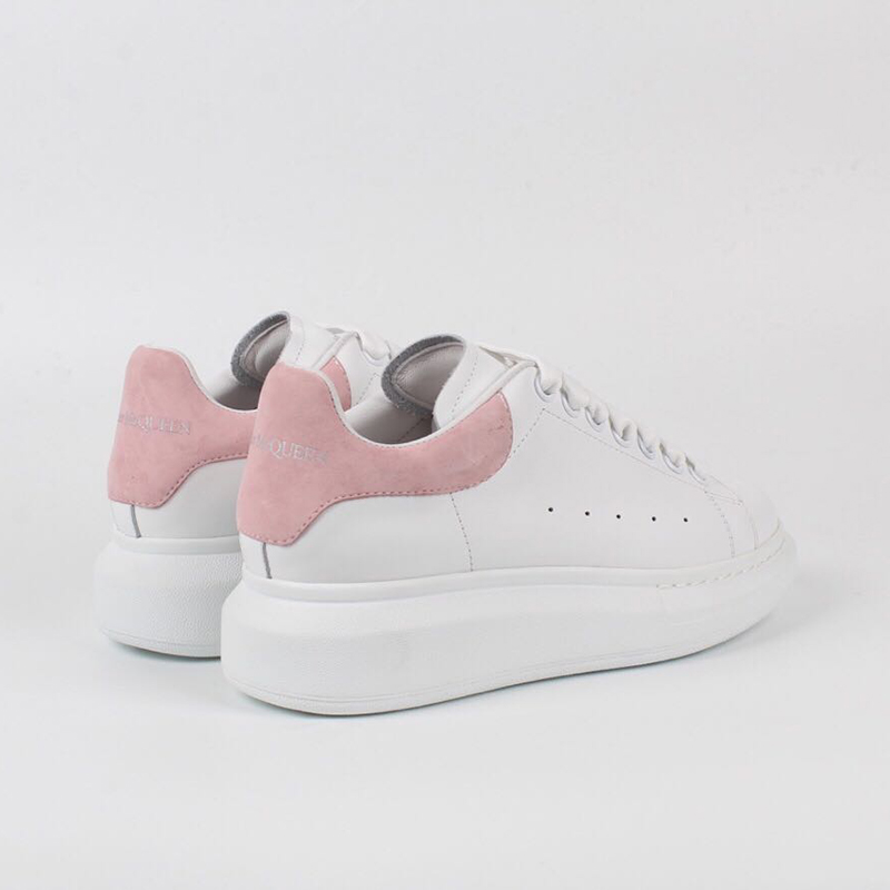 Alexander McQueen Leather Low Top Sneakers in White/Pink - FashionBeast