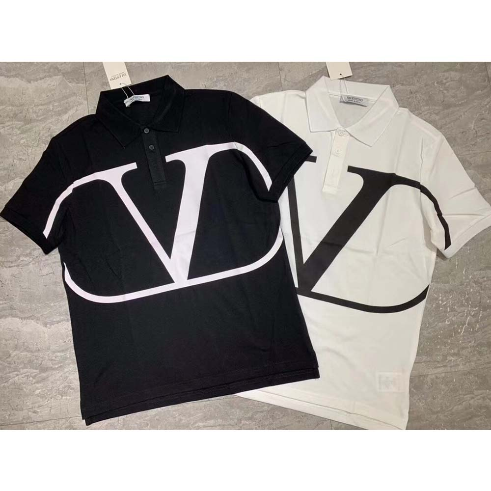 V Logo Cotton Polo in White - FashionBeast