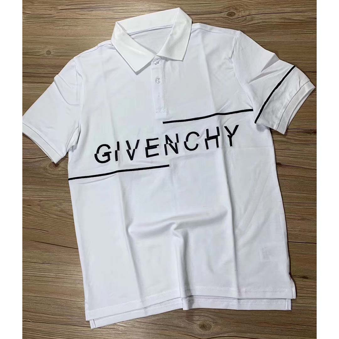 Givenchy Split Slim-f Fit Embroidered Polo in White - FashionBeast