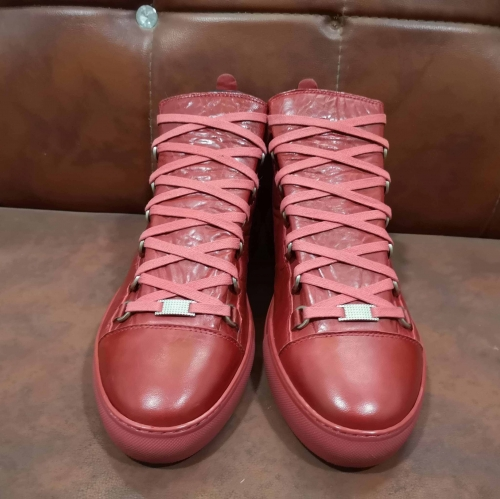 Limited Version Balenciaga Arena Creased Leather Sneakers Red - FashionBeast