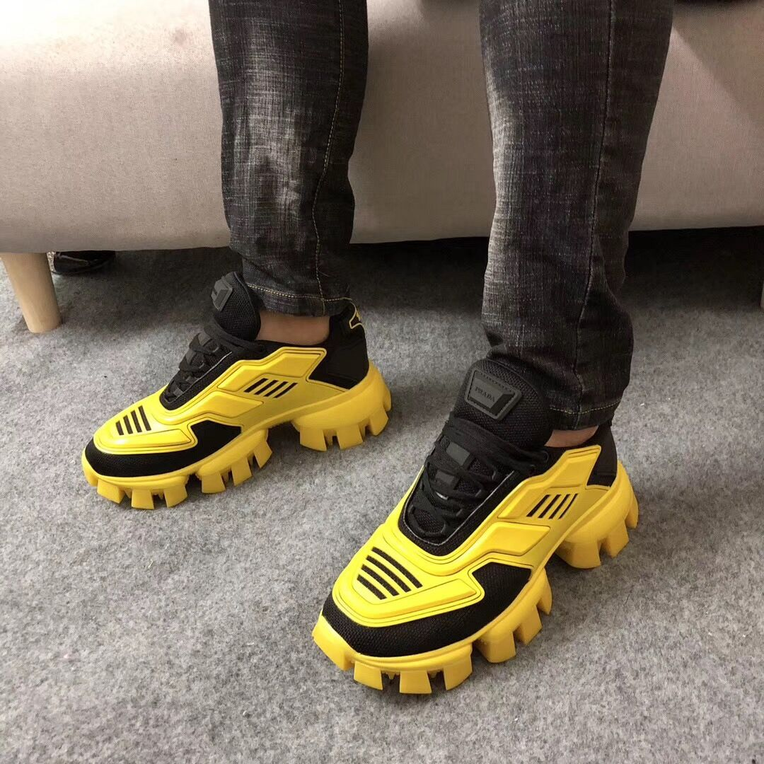 Prada Cloudbust Thunder Knit Sneakers in Black/Yellow - FashionBeast