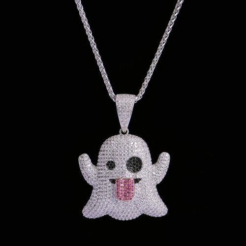 FREE SHIPPING White Gold Iced Ghost Emoji Pendant - FashionBeast