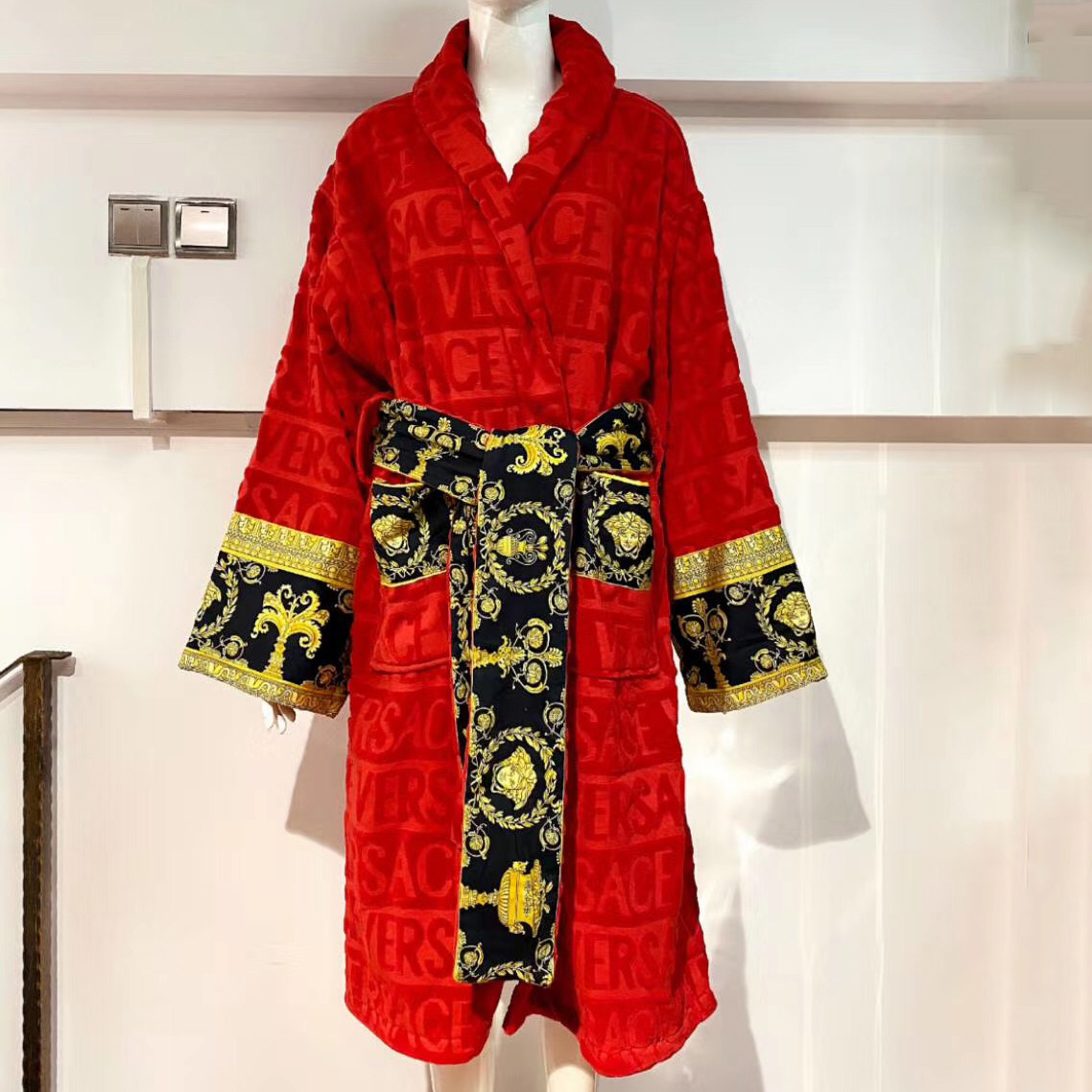 Versace Baroque Logo Jacquard Red Bathrobe - FashionBeast