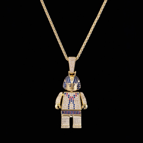 FREE SHIPPING 14K Gold Iced Out Pharaoh Block Pendant - FashionBeast