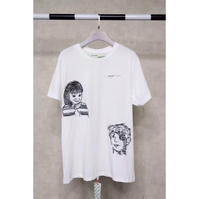 Off-White Sketch Graphic Printed T-shirt in White - FashionBeast