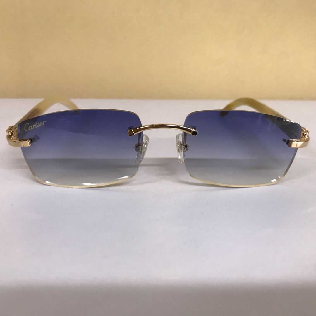 3524012 White Buffalo Big Lens Sunglasses in Gold Blue - FashionBeast