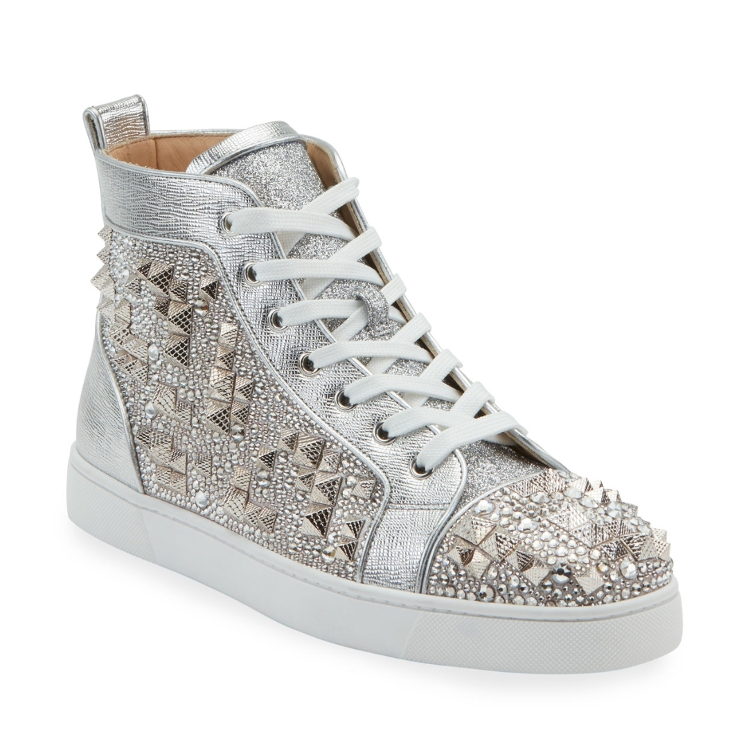 Men's Studded Metallic Leather High-Top Sneakers - FashionBeast