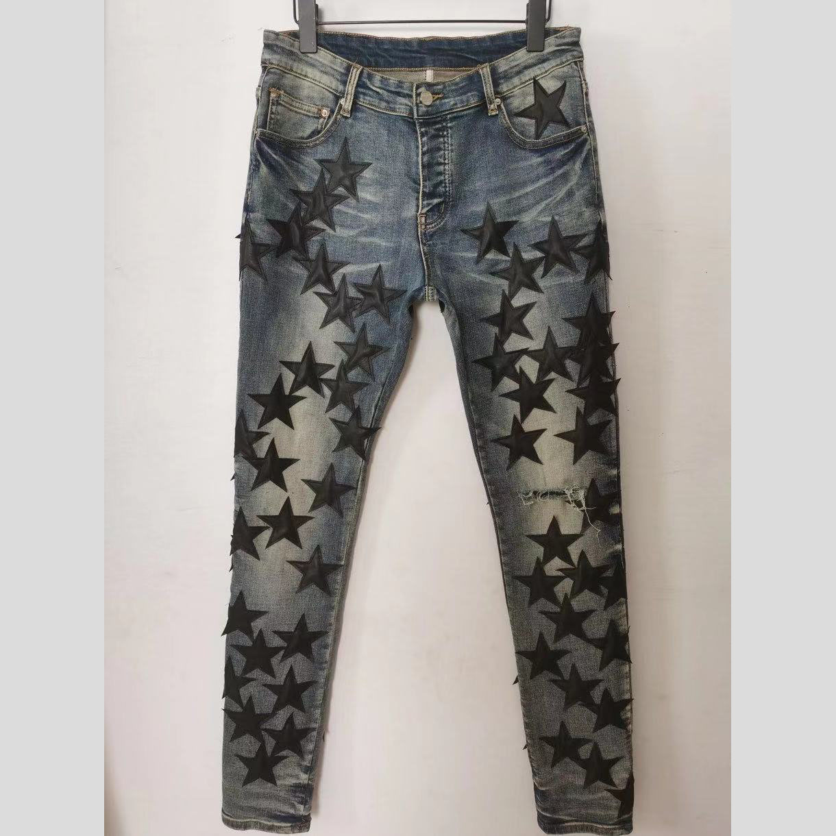 Slim Fit Star Patch Jeans  - FashionBeast
